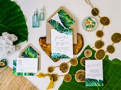 JARAUX SUITE // Tropical Wedding Invitation, Banana Leaf, Tropical Invitation, Beach Wedding, Watercolor, Palm Leaf, Desintation Invitation