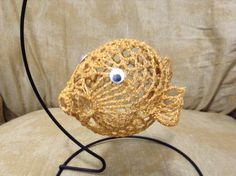 3 Piece Set of Hand Crocheted 3D Christmas Ornament Fish - Gold by KnotsOnTheDouble on Etsy