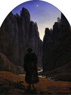 "Carl Gustav Carus: ""Pilger im Felsental"" 1820,  oil on canvas, Dimensions: 28 × 22 cm (11 × 8.7 in),  Current location: Alte Nationalgalerie,  Berlin, Germany."
