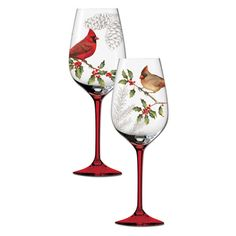 Hand Painted Wine Glasses Winter Cardinals
