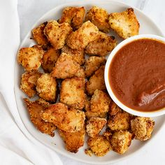 Air fryer chicken nuggets are an easy, healthy recipe that the whole family will love! These low carb homemade chicken nuggets are gluten free and Healthy Chicken Nuggets, Dipping Sauces For Chicken, Homemade Chicken Nuggets, Vegan Mushroom Soup, Easy Vegan Soup, Healthy Salads, Healthy Recipes, Free Recipes, Creamy Balsamic Dressing