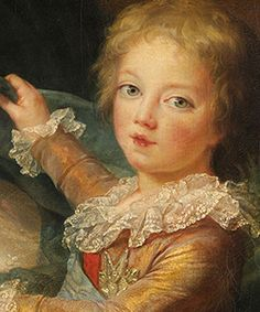 details from Marie Antoinette and her children by Elisabeth Vigee-Lebrun. 1788.