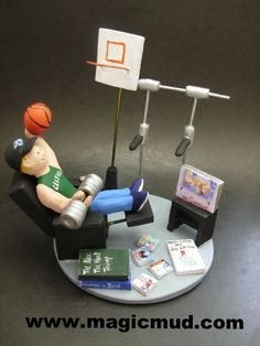 Sportsman's Birthday Gift Personalized for Dad by www.magicmud.com 1 800 231 9814 creating a custom made gift figurine for Dad based on the things he likes to do! ...incorporating his work, sports, family, hobbies, food, drink, electronic gadgets, etc. $225 #dad #men #guys #christmas #birthday #anniversary #custom #personalized #xmas #present #award #ChristmasGift #BirthdayGift #husband #boyfriend #uncle #basketball #muscles