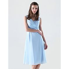 Knee-length Chiffon Bridesmaid Dress - Sky Blue Plus Sizes / Petite A-line / Princess V-neck – USD $ 39.99