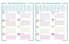 Menu Planner  | Forms for Download