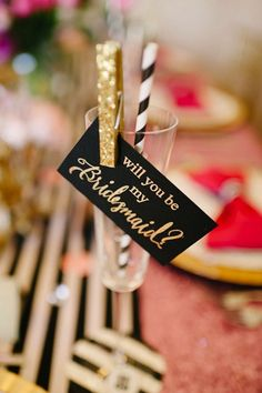 Grab the champagne ladies! This is a fun way to ask your bridesmaids to be standing next to you at the alter.