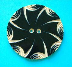 A Vintage Art Deco HUGE Carved & Layered Black/Ivory Celluloid Wafer Button