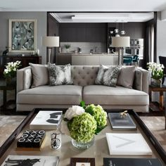 How To Create The Ultimate Bachelor Pad – Masculine Living Room Design – Oliver Burns Interiors – LuxDeco.com Style Guide Home Living Room, Interior Design Living Room, Living Room Designs, Luxury Living Rooms, Apartment Living, Coastal Interior, Barn Living, Luxury Interior Design, Coastal Decor