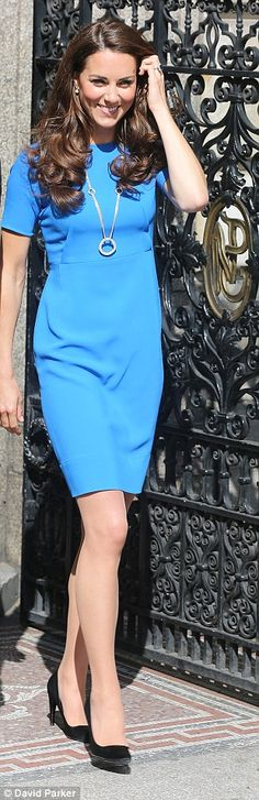 Electric blue: Kate showed support for British designer Stella McCartney and the London 2012 Games in this blue dress and Olympic hoop necklace at the National Portrait Gallery