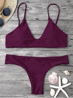 AD : Adjustable Straps Padded Bralette Bikini Set - MERLOT Sleek solid bathing suit featuring adjustable thin shoulder straps padded pullover bikini top and cheeky fit swim bottoms. Swimwear Type: Bikini Gender: For Women Material: Nylon,Polyester,Spandex Bra Style: Padded Support Type: Wire Free Collar-line: Spaghetti Straps Pattern Type: Solid Waist: Low Waisted Elasticity: Elastic Weight: 0.2000kg Package: 1 x Top 1 x Bottoms
