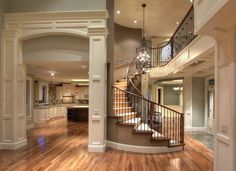 gorgeous open floor plan & spiral staircase!