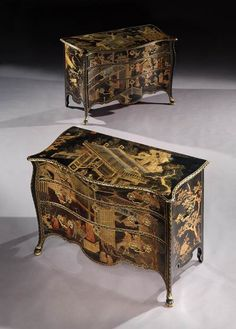 The St. Giles House commodes, a pair of Chippendale period Chinese lacquer commodes, English, circa 1765. Price range: £100,000 +.