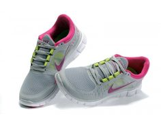 Women\'s Nike Free Run + 3 Running Shoes Wolf Grey/Peach/Hot Pink