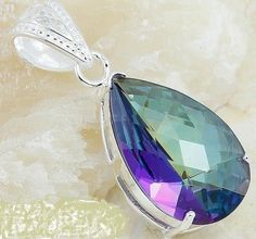 Genuine Mystic Topaz Pear-shaped Pendant set in SS Gemstone Jewelry, Jewelry Rings, Mystic Topaz, Necklaces, Bracelets, Pendant Set, Pear Shaped, Ss, Auction