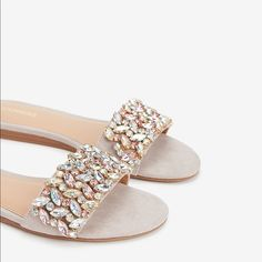Every step you take sparkles with chic shoe style in these jewel-embellished sandals. Wear these comfortable, padded sandals for day or night. Huarache, Simmi Shoes, Jeweled Shoes, Embellished Sandals, Clearance Shoes, Bridal Shoes, Wedding Shoes, Slide Sandals, Shoes Sandals