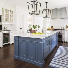 Blue Kitchen Island with Calacatta Gold Extra Marble Countertops, Transitional, Kitchen, Benjamin Moore Van Deusen Blue