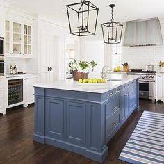 Blue Kitchen Island with Calacatta Gold Extra Marble Countertops, Transitional, Kitchen, Benjamin Moore Van Deusen Blue