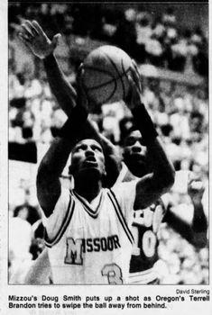 Doug Smith in Action vs. Oregon, 1990 Terrell Brandon, Newspaper Archives, College Basketball, Athletics, Missouri, Oregon, Action, College Basket, Group Action