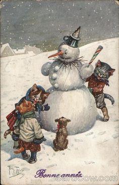 Bonne annee Snowmen Postcard
