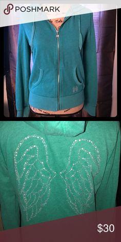 💋VICTORIA SECRET💋 VS ZIP UP HOODIE SZ MED. In excellent condition. Zipper is in good working condition & all rhinestones are there.(back) Victoria's Secret Tops Sweatshirts & Hoodies