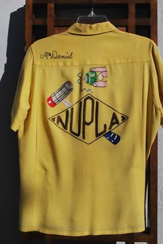 Vintage 50's men's bowling shirt embroidered CA Gold by thekaliman, $350.00