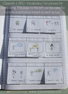 Lift up flaps for vocabulary and target structures in our Spanish interactive notebooks. Section 4: Vocabulary