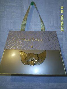 gold handbag card
