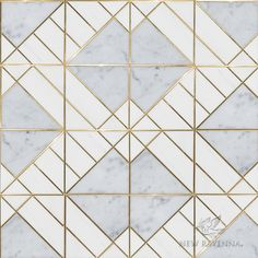 Nico, a stone waterjet mosaic, shown in polished Carrara and Dolomite with Brass. Floor Patterns, Tile Patterns, Textures Patterns, Inexpensive Bathroom Remodel, New Ravenna, Sliding Door Design, Perfect Glass, Diy Bathroom Decor, Bathroom Fixtures