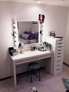 Makeup Vanity Ideas Ikea Vanity - bedroom makeup vanities diy vanity with lights simple girls Diy Vanity Table, Ikea Vanity, Makeup Table Vanity, Vanity Desk, Makeup Desk, Corner Vanity, Ikea Mirror, Mirror Vanity, Vanity Room