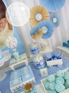 Cream & light blue baptism party! See more party ideas at CatchMyParty.com!