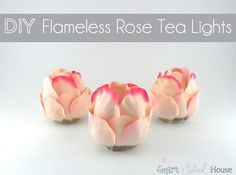 DIY Project: Flameless Rose Tea Lights I love a pretty DIY project! Let me show you this beautifully easy project called DIY Flameless Rose Tea Lights. They are made of fabric rose petals, a flameless tea light,. Diy Rose, Glue Gun Crafts, Silk Rose Petals, Rose Centerpieces, Plastic Spoons, Plastic Silverware, Plastic Bottles, My Funny Valentine, Valentines