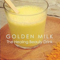 GOLDEN MILK RECIPE   Ingredients: 2 cups of coconut milk 1 teaspoon coconut oil 1 teaspoon of turmeric powder 1/4 teaspoon of Ginger  1/4 teaspoon of cinnamon Raw honey to taste   How To Make It: *Place milk in  a sauce pan over medium heat.  *Add the oil and spices and stir well.  *Allow to heat for a minute or two (you don't want it to overheat though). *Add the honey and stir.  *Serve warm.