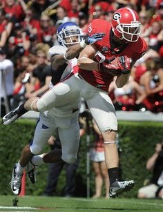 Michael Bennett makes a touchdown catch in the end zone.....sept 1, 2012 Georgia Bulldogs Photos - ESPN