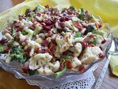 Creamy Cauliflower Broccoli Salad Recipe from RecipeTips.com!