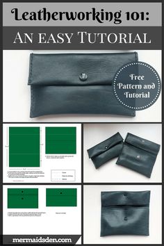 Leatherworking An Easy Pouch for Beginners. Free pattern and tutorial. Simple leathercrafting project with upholstery leather. Easy Sewing Projects, Sewing Hacks, Sewing Tutorials, Sewing Patterns Free, Free Sewing, Free Pattern, Craft Patterns, Sewing Leather, Leather Art