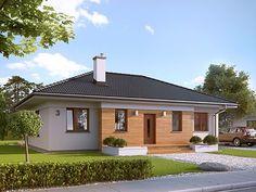 Projekt domu Decyma 2 One Floor House Plans, Bungalow House Plans, Humble House, Village Houses, Facade House, My House, Gazebo, Sweet Home, New Homes