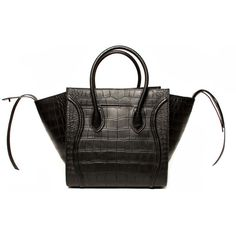 Celine Phantom Crocodile Print Embossed: Black, Women's (15,255 CNY) ❤ liked on Polyvore featuring bags, handbags & wallets, celine bag, black bag, croc embossed bag, print bags and crocodile leather bag
