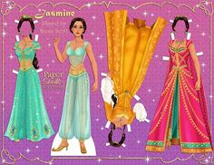 as Jasmine from Disney's live action ! Really loving how colorful and ornate the costumes and film look! Paper Dolls Clothing, Doll Clothes, Princesa Anastasia, Disney Paper Dolls, Jasmine Costume, Dragon Party, Paper Dolls Printable, Barbie Birthday, Harry Potter