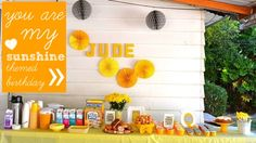 """Cute """"you are my sunshine"""" birthday party."""