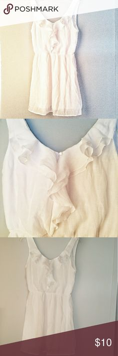 👗White dress👗 ☞Beautiful sheer white mid dress. Slip built in. Ruffles in the front with decorative small buttons. Elastic at the middle. Super cute with sandals or cowboy boots and a jean jacket☜🔻Bundle with one or more other dresses and/or crop jean jacket found in my closet and get an awesome private discount🔻🚭Smoke free home🚳🐶Pet friendly home🐶 ✔All clothes get washed, dried , and lint rolled before shipment✔ Dresses Midi