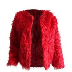 Roaso Euramerican Round Neck Long Sleeves Red Faux Fur Coat ($41) found on Polyvore featuring women's fashion, outerwear, coats, red coat, imitation fur coats, long sleeve coat, leather-sleeve coats and round neck coat