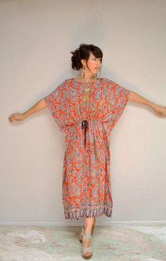 kaftan dress   vintage sundress Batik print dress   boho 1970s dashiki festival