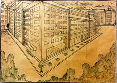 """""""Perspective drawing for Mac cover"""" by Vishwani Chauhan, pencil and ink on envelope paper."""