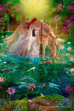 A Curious Introduction by Aimee Stewart ~ fairy ~ unicorn ~ fantasy Unicorn And Fairies, Unicorn Fantasy, Unicorn Art, Magical Unicorn, Magical Creatures, Fantasy Creatures, Fairy Land, Fairy Tales, Fantasy World