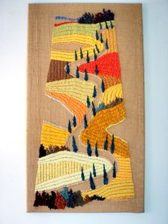 Art Textiles Tapestry Embroidery Fiber art Decorative Arts Landscape Modern Art Tapestry Handmade Landscape Tuscan yellow road