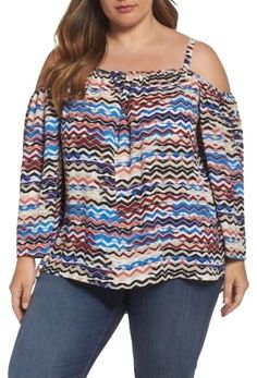 7d1149f8280ad Iovry Blue Brown Herringbone Muses Off The Shoulder Blouse