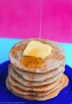 With a secret ingredient that makes these pancakes so irresistibly light & fluffy... And eight fat pancakes are less than 200 calories. Full recipe here: http://chocolatecoveredkatie.com/2015/02/17/fatcake-pancakes/