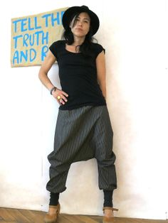 Pinstripe harem pants brown grew made of cotton elegant, sarouel with pinstripes, drop crotch pants,bloomers, loose trousers, baggy pants