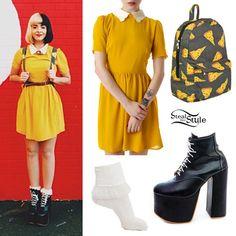 Melanie Martinez: Mustard Dress, Pizza Backpack