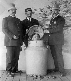 Milk Can Escape was an escape created by Harry Houdini in 1908 and introduced in St. Louis. Houdini would escape from inside a giant milk can filled with water. It became a very popular trick and he took it on tour throughout the U.S., England, and Germany.